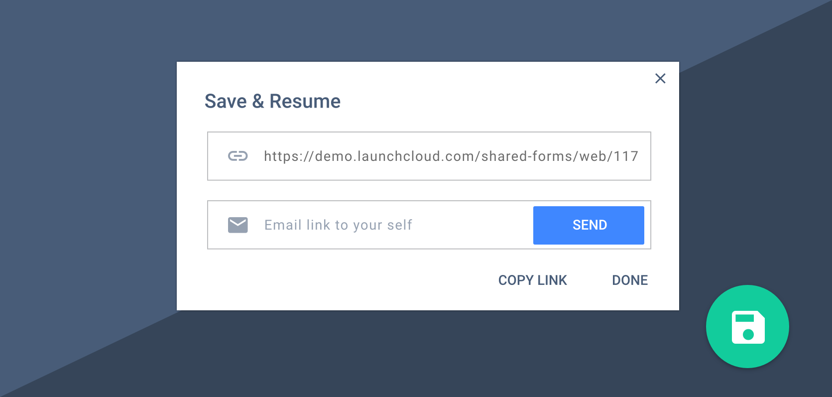 Save & Resume Feature
